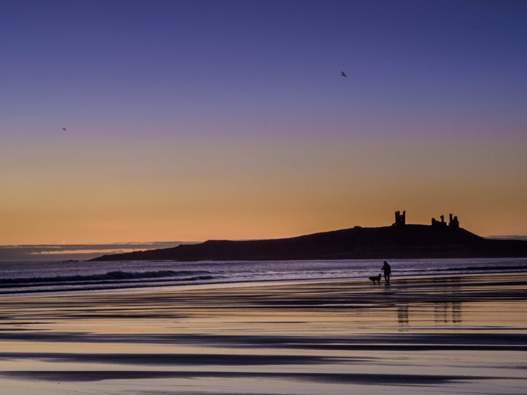An early morning walk on Dunstan Steads beach, next to Dunstanburgh Castle